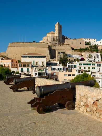 Ibiza Town From Baluard De Santa Llucia : Stock Photo