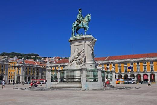 Stock Photo: 1840-24586 Praco Do Commercio, Statue Of King Jose I