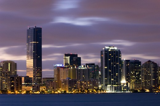 Stock Photo: 1840-25150 Miami, Downtown At Night
