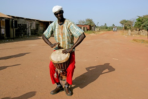 Gambia, Sangan Beach, Drummer : Stock Photo