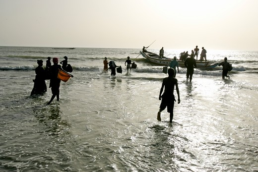 Stock Photo: 1840-25606 Gambia, Sangan Beach, Fishermen and Boats