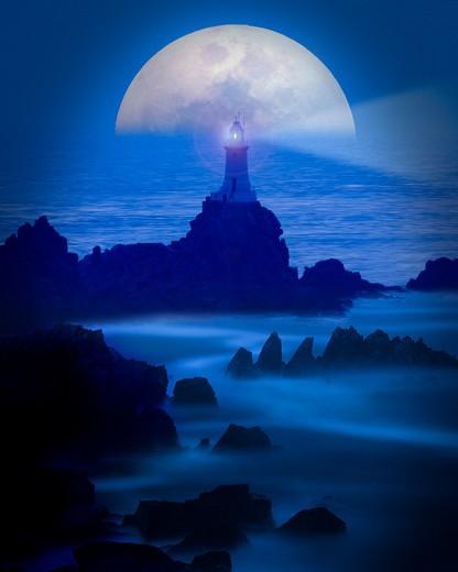 Channel Islands, Jersey, Corbiere Lighthouse : Stock Photo