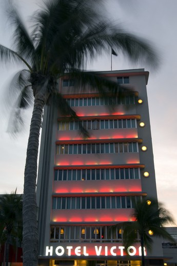 Stock Photo: 1840-26109 Neon Lights On Ocean Drive & Architecture, Art Deco District By Night, South Beach, Miami.