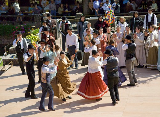 Folk Dancing At Alte (a Troupe From Central Portugal) : Stock Photo