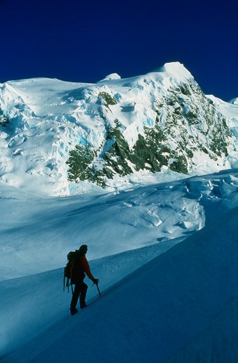 Stock Photo: 1840-29280 Mountaineering on the Tasman Glacier with Mt. Green above in Mt. Cook National Park on the south island of New Zealand. We have extensive files of skiing, climbing, backpacking, and scenics on the south island of New Zealand.