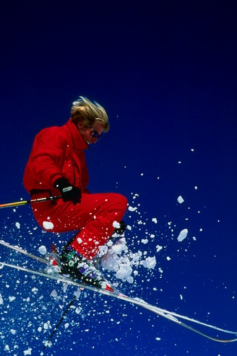 Stock Photo: 1840-29313 Skiing at Snowbird Ski Resort in Utah near Salt Lake City.