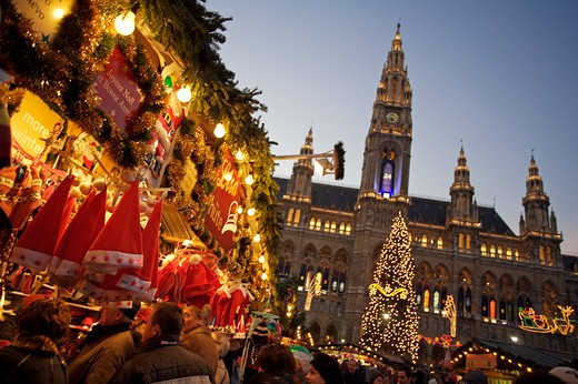 Stock Photo: 1840-29855 Vienna, Rathaus & Xmas Market 2005