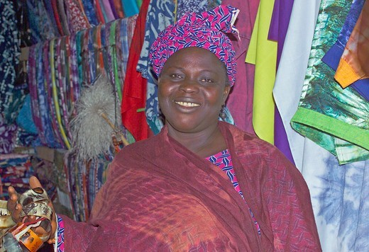 Stock Photo: 1840-30094 Banjul Market, Woman Stall Holder