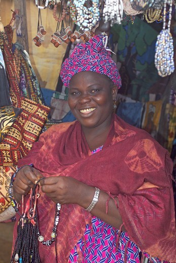 Banjul Market, Woman Stall Holder : Stock Photo