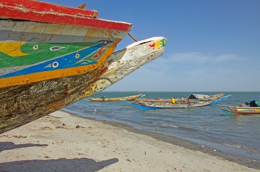 Stock Photo: 1840-30112 Banjul, Painted Fishing Boat