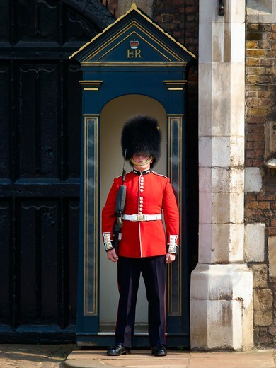 Welsh Guard, St. James's Palace : Stock Photo
