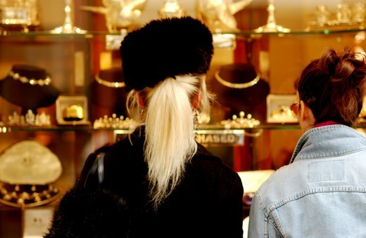 Stock Photo: 1840-31102 Women Looking In Jewellery Shop, Day