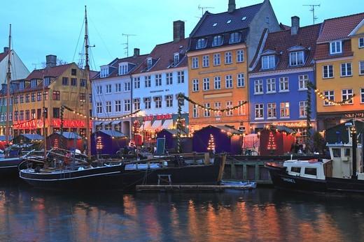 Stock Photo: 1840-31760 Nyhavn, Christmas Market, Copenhagen