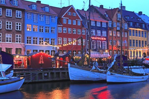 Stock Photo: 1840-31761 Nyhavn, Christmas Market, Copenhagen