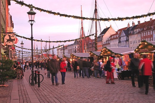 Stock Photo: 1840-31790 Nyhavn, Christmas Market, Copenhagen