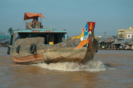 Boat On Can Tho River : Stock Photo