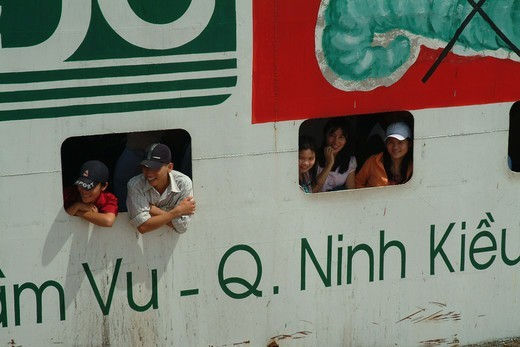 People On Ferry Crossing The Mekong River, Can Tho : Stock Photo