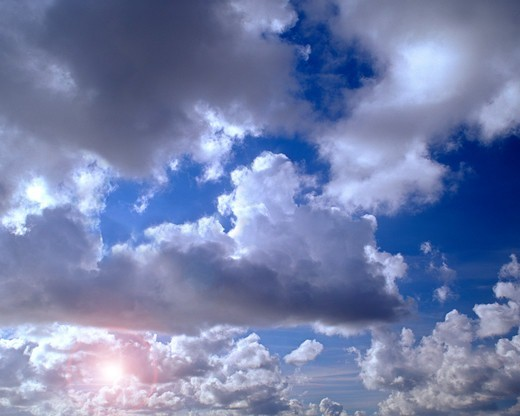 Stock Photo: 1840-33357 Cloudy Sky, Hint Of Sun