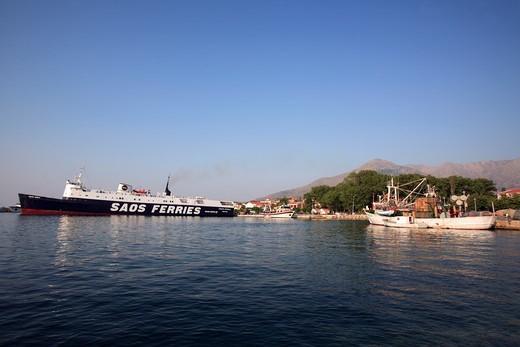 North East Aegean Islands, Samothraki, A View Of The Port Of Kamariotissa : Stock Photo