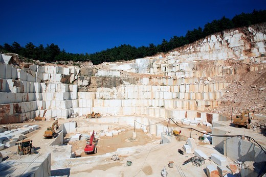 Stock Photo: 1840-34169 North East Aegean Islands, Thassos, A Marble Quarry In The Hills Behind Limeanas