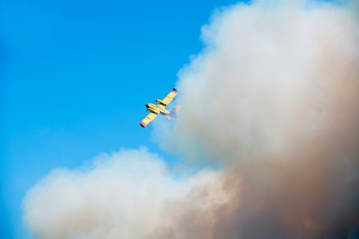 Skiathos Island Fighting A Wild Forest Fire : Stock Photo