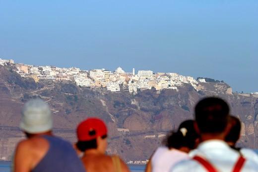 Santorini and Tourists : Stock Photo