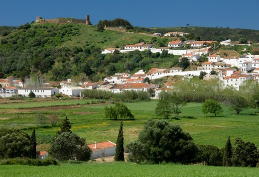 Costa Vicentina, view of Aljezur town and fort. : Stock Photo
