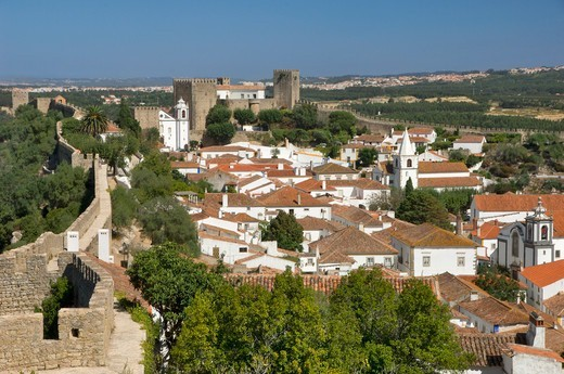 Obidos, Town & The Pousada From The Ramparts : Stock Photo