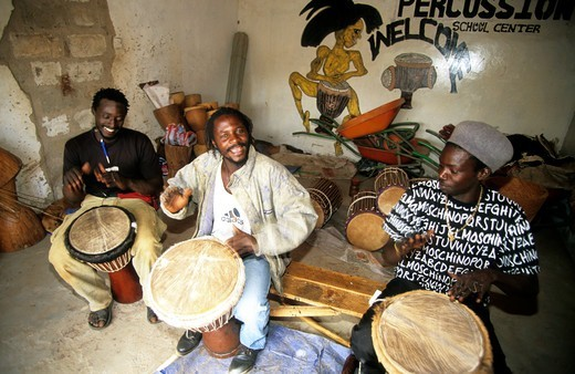 Gambia Banjul Local Boys Playing Drums : Stock Photo