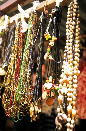 Gambia Banjul Market A Stall Selling Beads : Stock Photo