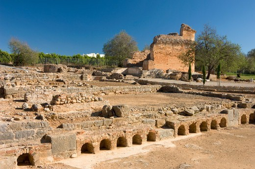 Stock Photo: 1840-37940 Algarve; Milreu, Estoi; Archeological Site Of A Roman Villa; Showing Underfloor Heating (hypocaust).