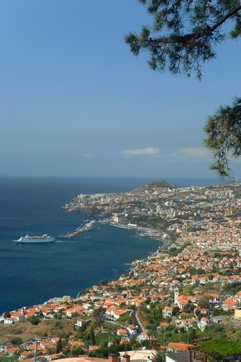 Funchal Town With Liner Leaving Harbour : Stock Photo