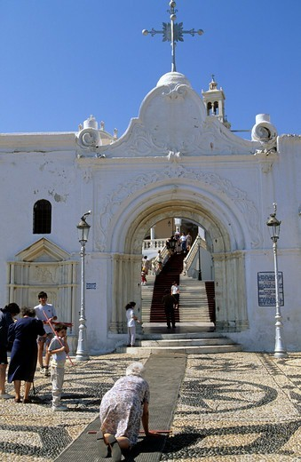 Stock Photo: 1840-38075 Greece Northern Cyclades Tinos Island A Crowd Of Pilgrims At The Entrance To The Church Of Panagia Evangelistria