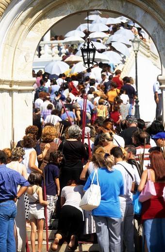 Greece Northern Cyclades Tinos Island A Crowd Of Pilgrims At The Entrance To The Church Of Panagia Evangelistria : Stock Photo