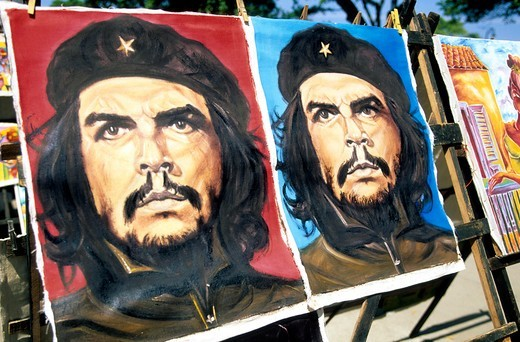 Caribbean Cuba Havana Colourful Paintings Of Che Guevara  On Sale In A Street Market : Stock Photo