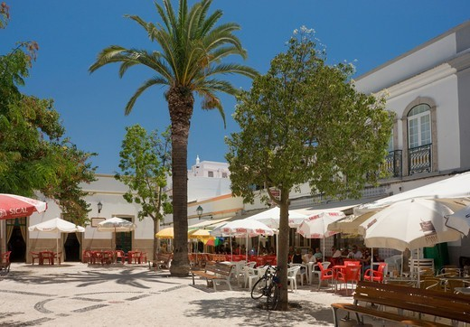Eastern Algarve, Fuzeta, Central Square Of Village : Stock Photo