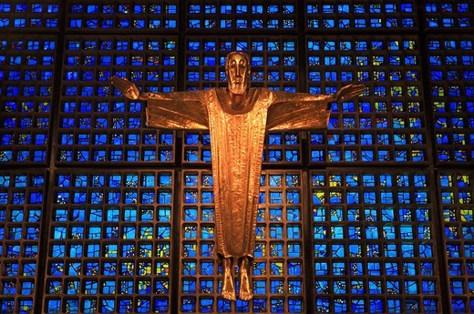 Stock Photo: 1840-40051 Germany, Berlin, Kaiser Wilhelm Memorial Church, figure of Christ on main altar in new octagonal church