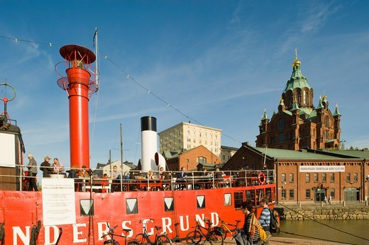 Stock Photo: 1840-40393 Boat restaurant and Uspenski Cathedral overlooking Northern Harbour, Helsinki, Finland