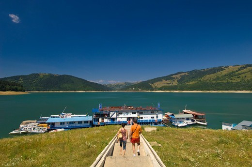 Stock Photo: 1840-40505 Floating hotel on Bicaz Lake, Moldavia, Romania