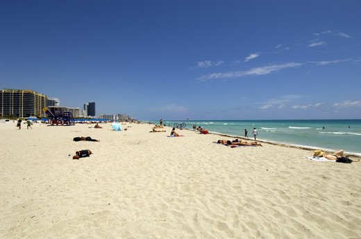 Sandy Beach, Art Deco District, South Beach, Miami. : Stock Photo