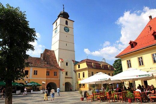 Romania, Transylvania, Sibiu, The Council Tower : Stock Photo