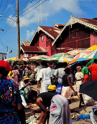 Castries Central Market, Castries, St. Lucia, Caribbean : Stock Photo