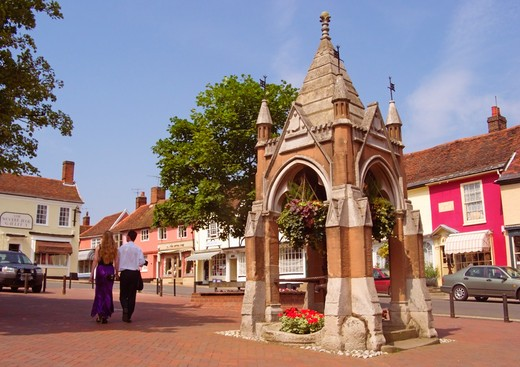 The Pump, Local Shops And Architecture, Market Hill, Woodbridge, Suffolk, England, Great Britain : Stock Photo