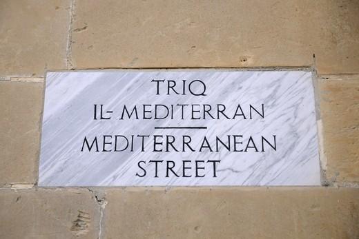 Stock Photo: 1840-7457 Marble Mediterranean Street Sign In Valletta