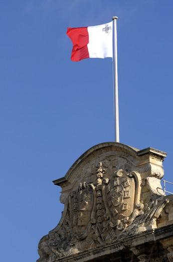Stock Photo: 1840-7474 Maltese National Flag On The Auberge De Castile