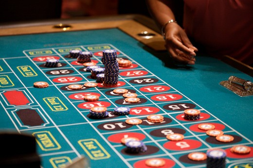 Stock Photo: 1840-7853 Roulette Table Gambling Las Vegas Chips