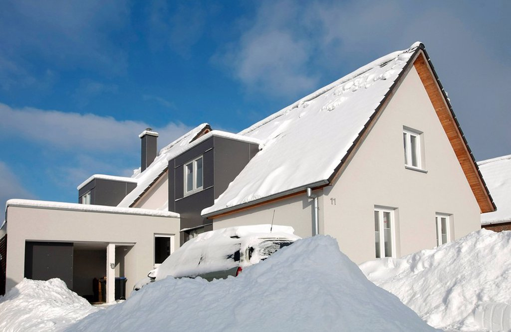 Family house in winter : Stock Photo