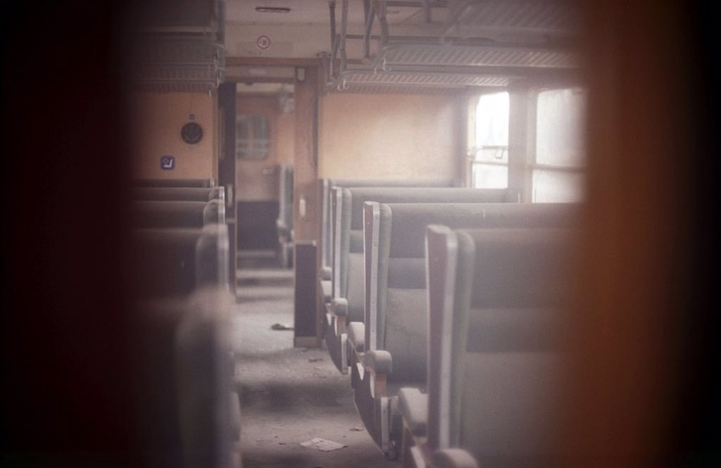 Stock Photo: 1841-10009 green site of crime indoors indoors Flight End end dark hopeless brown left nobody empty deserted search see through break Adventure investigate Interest sniff pursue Detail rummage spy cache Transportation Driv