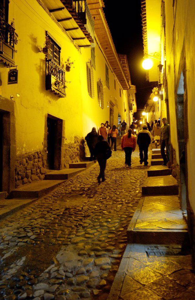 Stock Photo: 1841-10045 People walking in street at night, Cuzco, Cusco Region, Peru