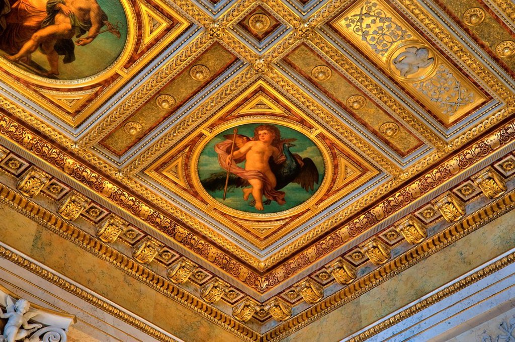 Stock Photo: 1841-101638 Ceiling painting in Palais Ephrussi, Vienna, Austria, detail
